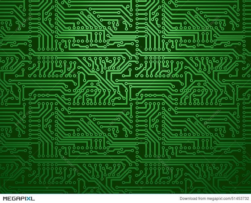 Vector Circuit Board Green Background Illustration 51453732 - Megapixl