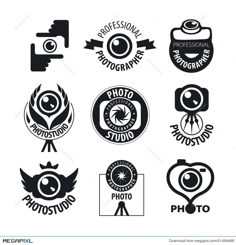 Set Of Vector Logos For Professional Photographer Illustration