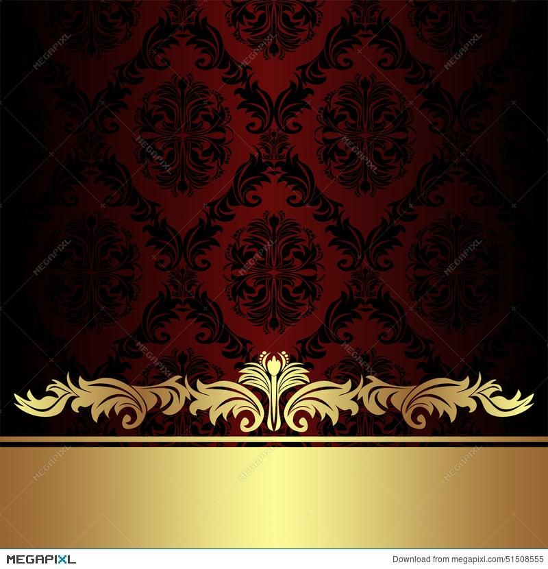 Damask Red Ornamental Background With Golden Royal Border