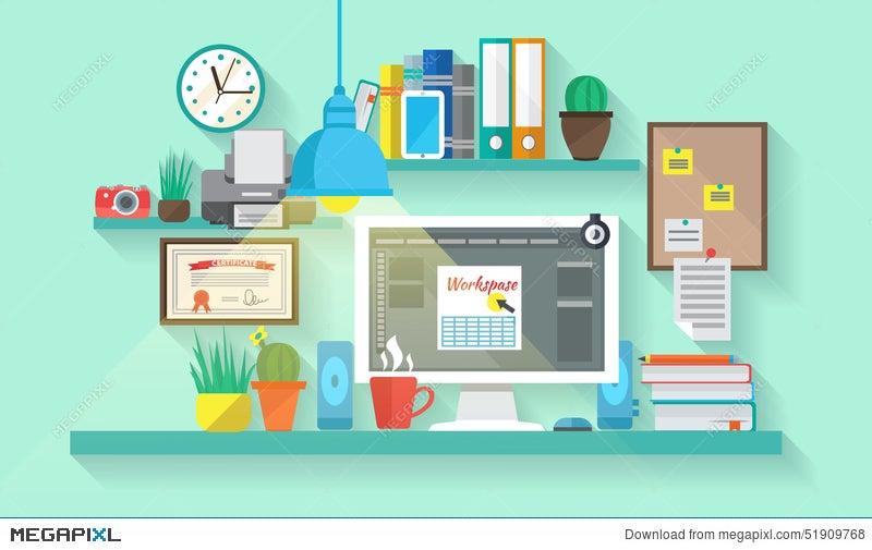 Workspace In Room Illustration 51909768