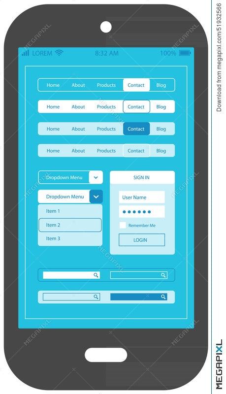 Flat ui design smartphone mobile app template illustration 51932566 flat ui design smartphone mobile app template maxwellsz