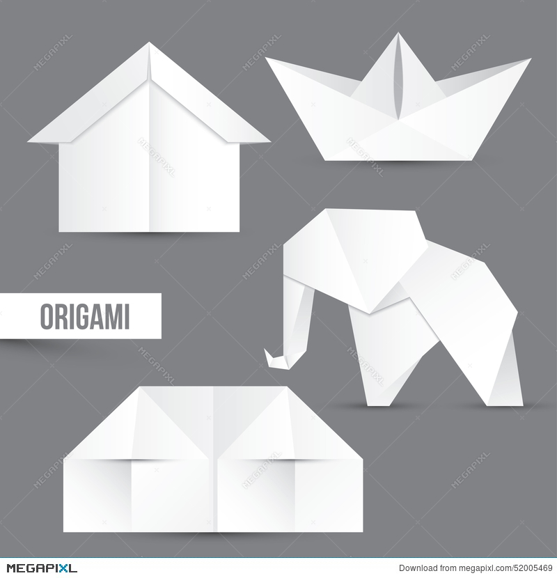Origami Set House Ship And Elephant White Papper Design
