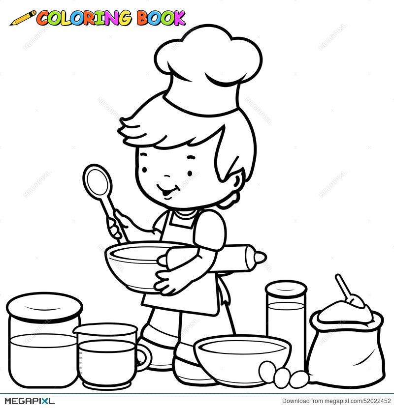 boy cooking coloring page illustration 52022452 megapixl