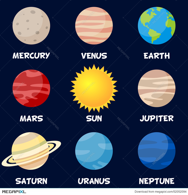 Planets Of The Solar System With Sun Illustration 52052094 Megapixl