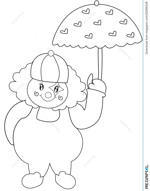 Clown With Umbrella Coloring Page Illustration 52086439 ...