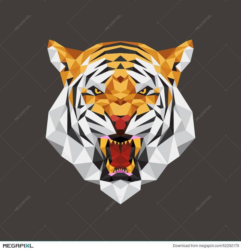 Tiger Head Polygon Geometric Vector Illustration Illustration
