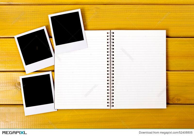 photo album polaroid frame photo prints blank copy space stock photo