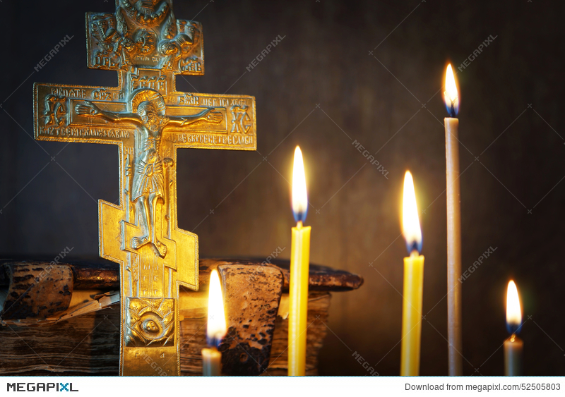 Christian Still Life With Ancient Metal Crucifixion And Candles