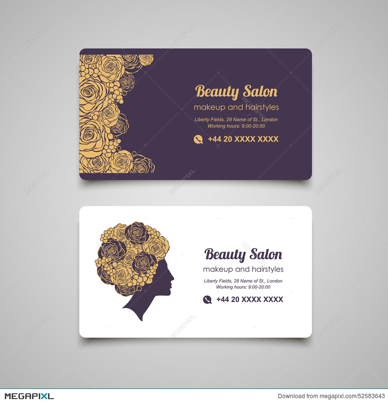 beauty salon luxury business card design template with beautiful