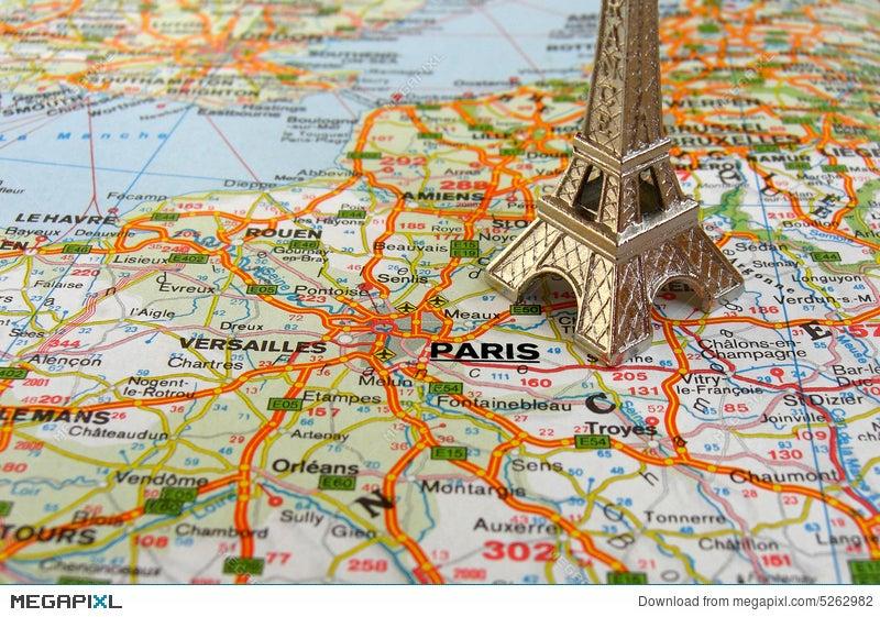 Karte Paris Eiffelturm.Eiffel Tower On France Map Stock Photo 5262982 Megapixl