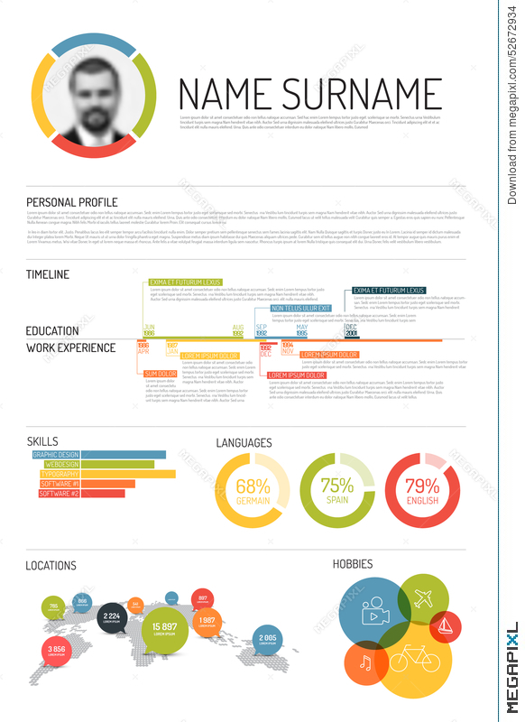 Original Cv / Resume Template Illustration 52672934 - Megapixl