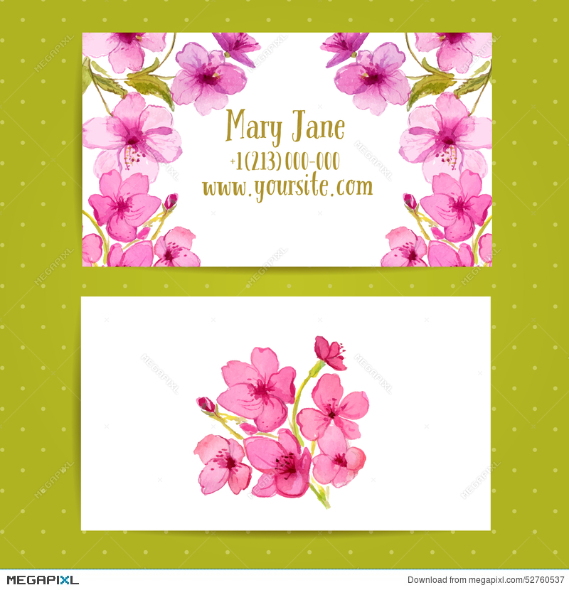 Business Card Template With Watercolor Flowers Of Illustration ...