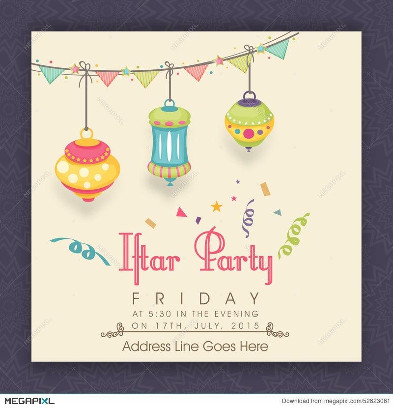 Invitation Card With Lantern For Ramadan Kareem Iftar Party
