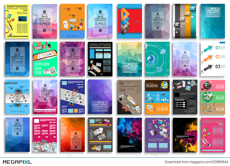 set of flyers background infographics low polygon backgrounds