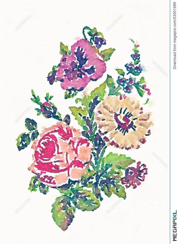 Watercolor Flower Bouquet Illustration Illustration 53001689 - Megapixl