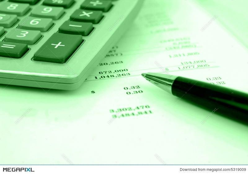 calculator on financial statement stock photo 5319009 megapixl