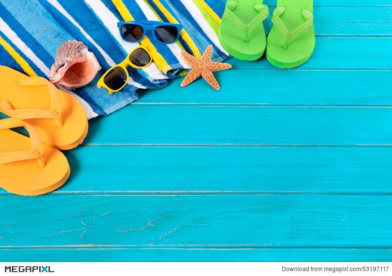 b9184cd742c918 Summer Beach Background Flip Flops Sunglasses Sunbathing Copy Space ...