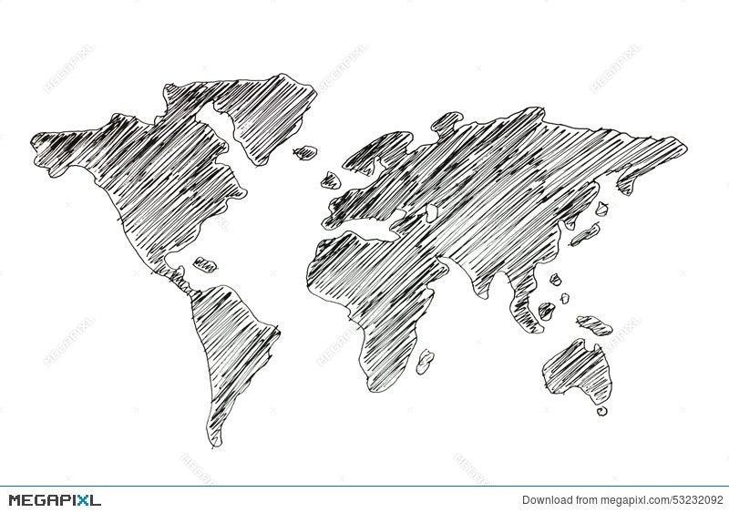 Hand Drawing World Map Illustration 53232092 - Megapixl