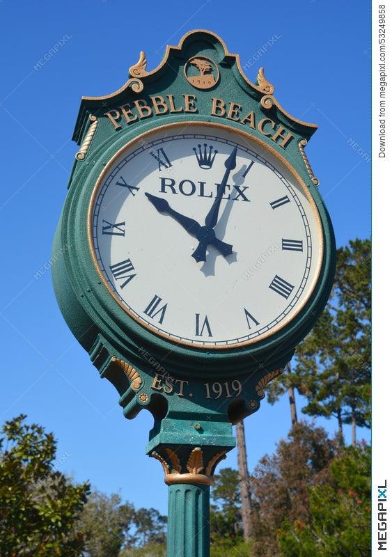 Rolex Clock In The Public Golf Course Of Pebble Beach Stock
