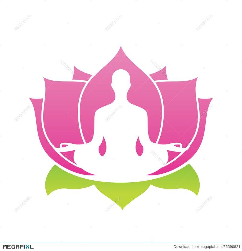 Lotus Flower Abstract Vector Logo Yoga Asana Illustration