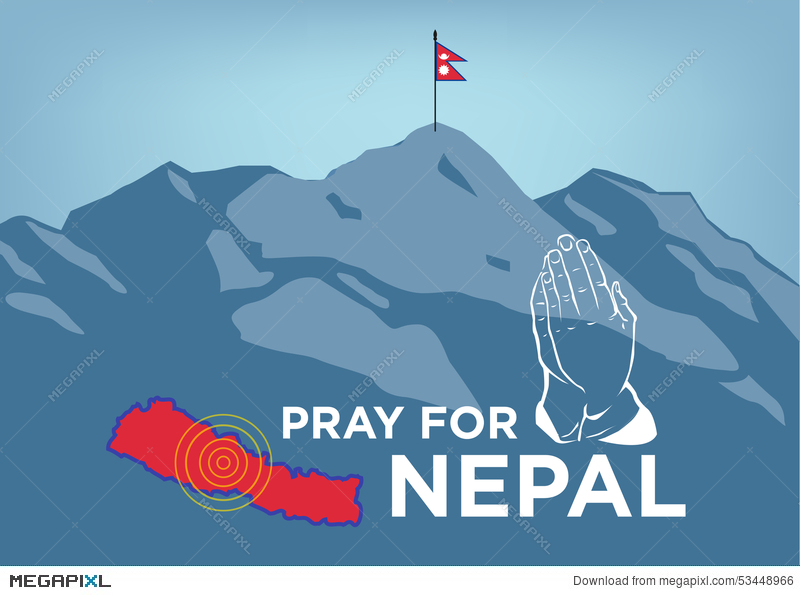 Pray For Nepal Earthquake Crisis Concept With Praying Hand, Map And ...