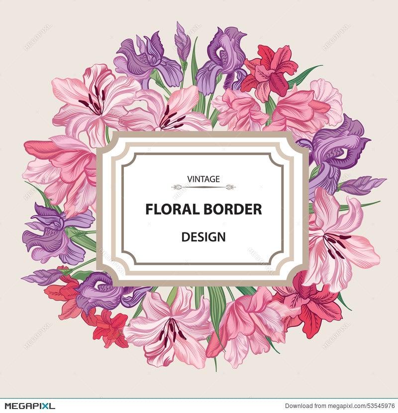 Flower Frame. Vintage Floral Border. Old Style Card. Flourish Vi ...