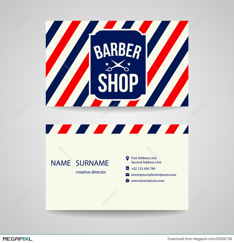Business Card Template Design For Barber Shop Illustration 53566706 ...