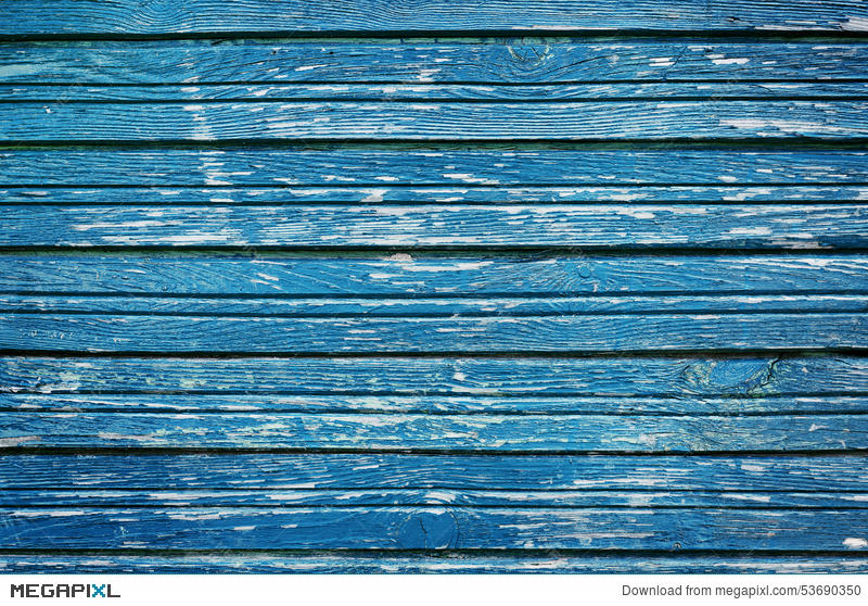 Old Rustic Wooden Planks With Blue Cracked Paint Vintage Wall Wood For Background