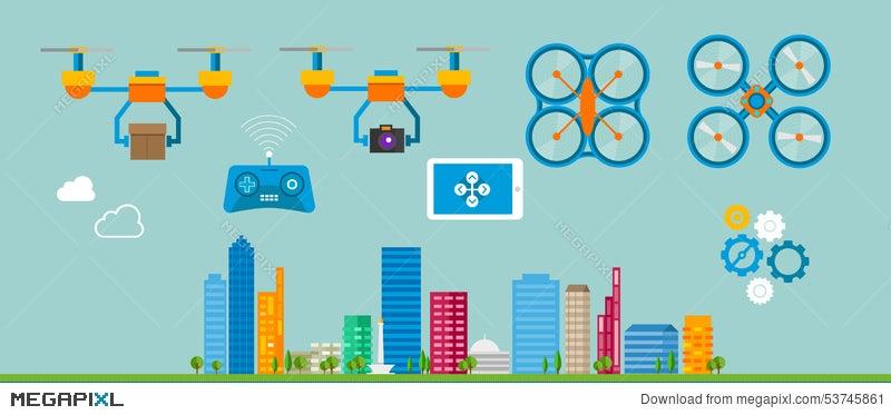 Drone Delivery Flat Icon Illustration Illustration 53745861