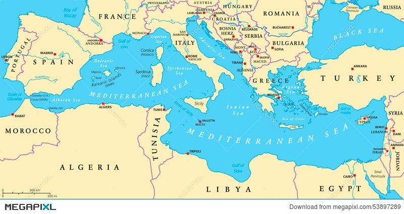 Mediterranean Sea Region Political Map Illustration 53897289 - Megapixl