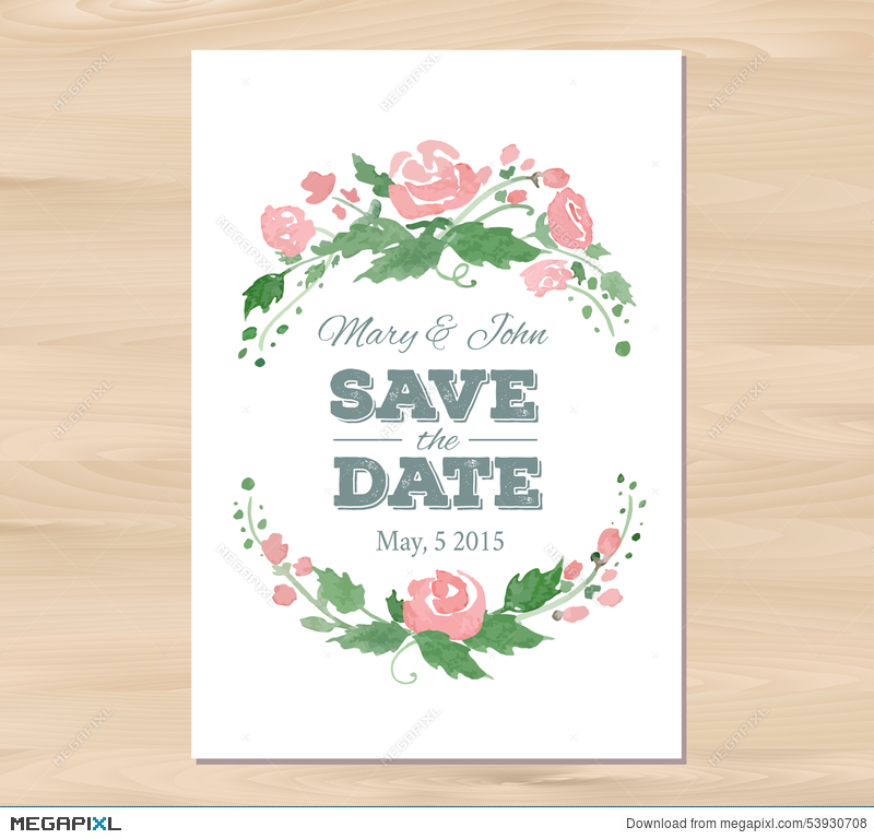 Vector Wedding Invitation With Watercolor Flowers Illustration ...