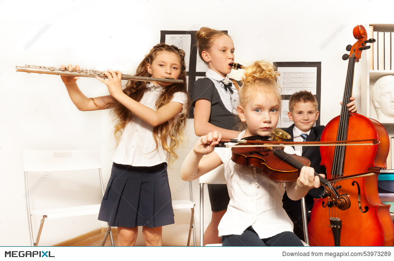 School Children Play Musical Instruments Together Stock Photo 53973289 -  Megapixl