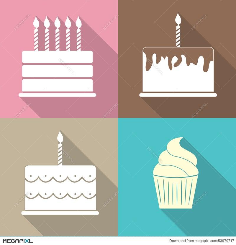 Birthday Cake Flat Web Icon Vector Illustration Illustration