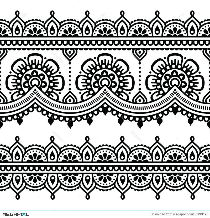 Mehndi Indian Henna Tattoo Pattern Or Background Illustration