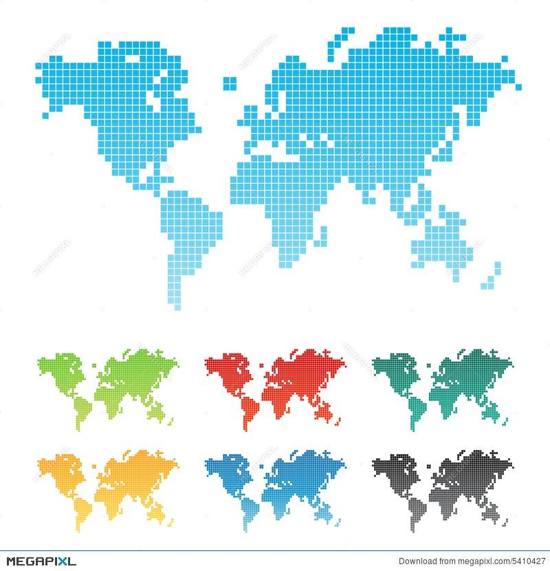 Pixelated world map illustration 5410427 megapixl pixelated world map gumiabroncs Image collections