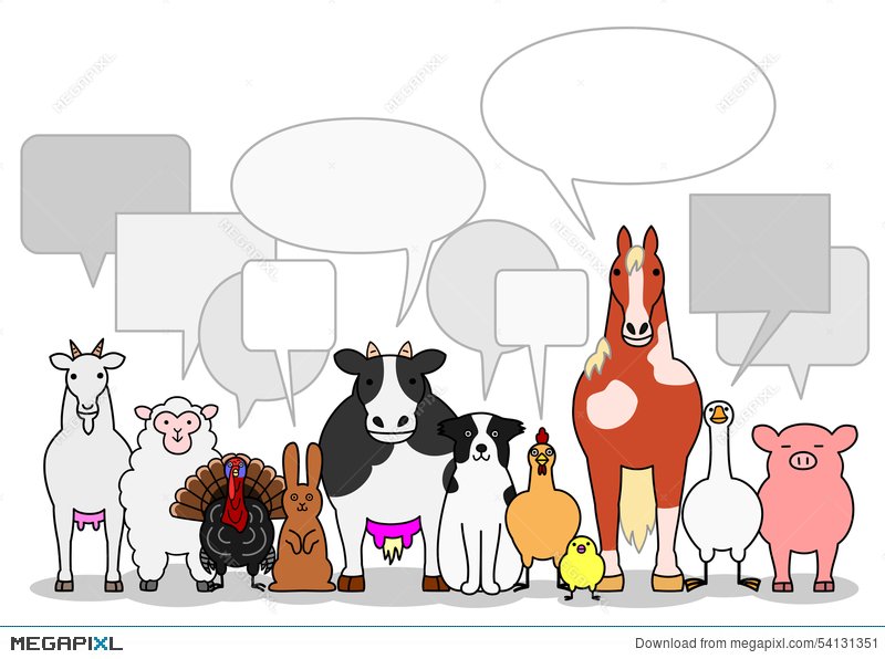 Farm Animals Group With Speech Bubbles Illustration 54131351