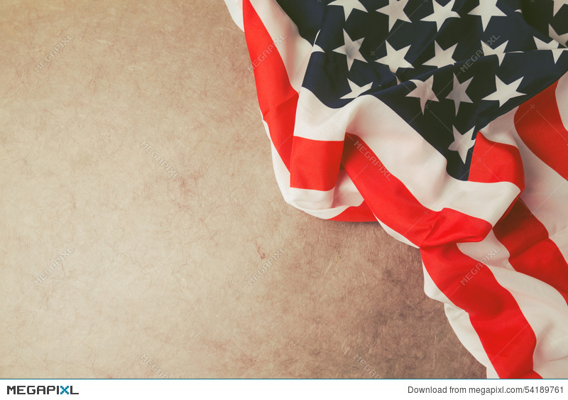 Usa Flag Over Vintage Paper With Copy Space 4th Of July