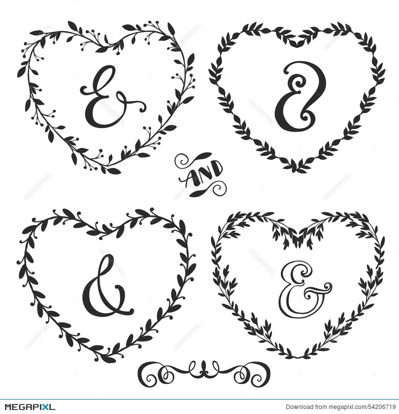 Hand Drawn Rustic Vintage Heart Wreaths With Lettering