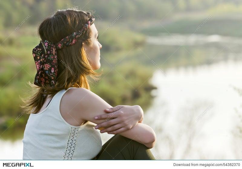 Free Happy Woman Enjoying Nature Beauty Girl Outdoor Freedom C Stock Photo 54382370 Megapixl