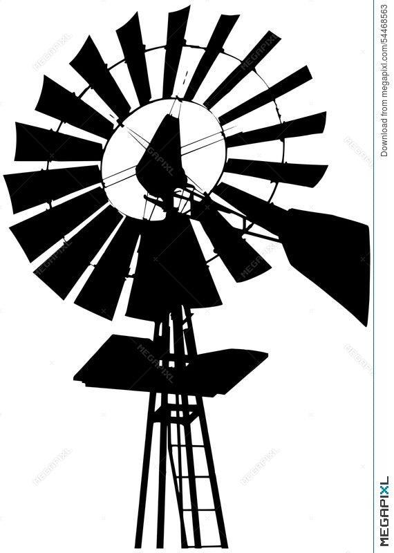 farm windmill silhouette illustration 54468563 megapixl