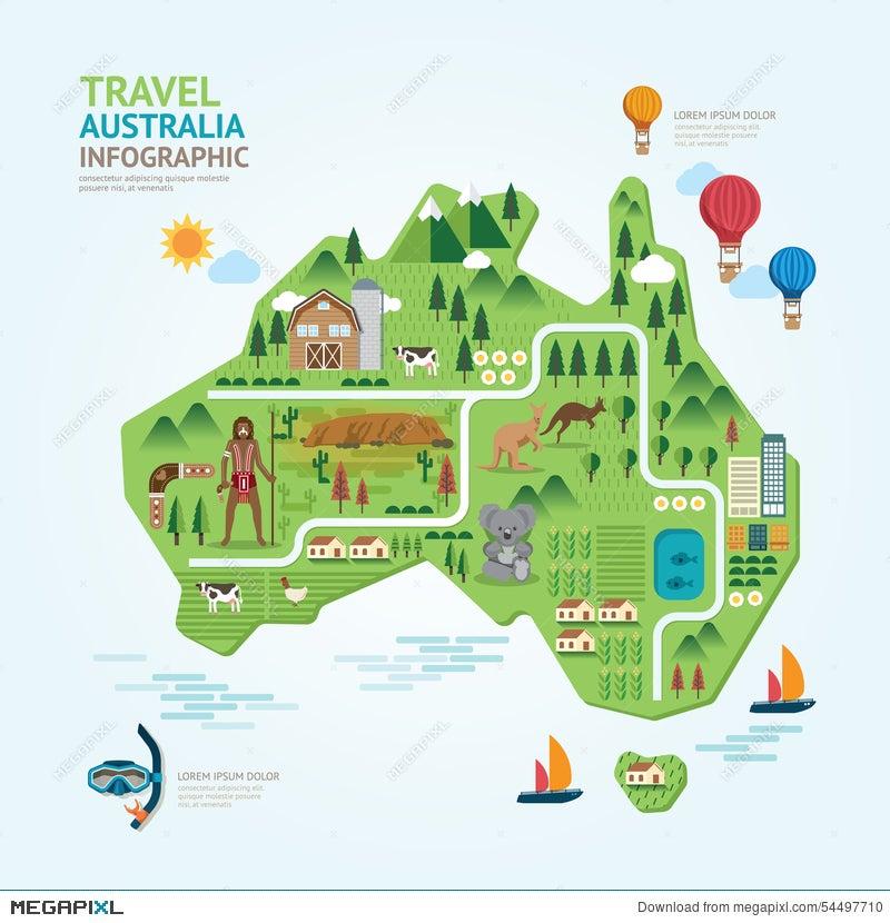 Australia Map Shape.Infographic Travel And Landmark Australia Map Shape Template