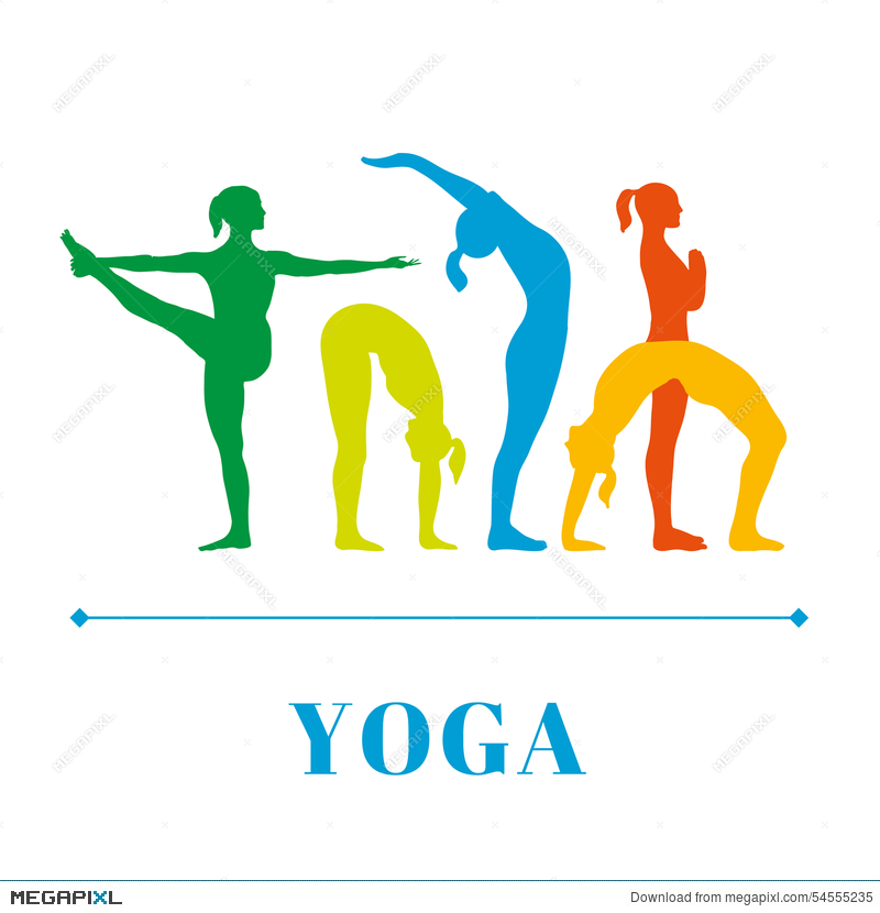 Yoga Poster With Silhouettes Of Women In The Poses On A White Background
