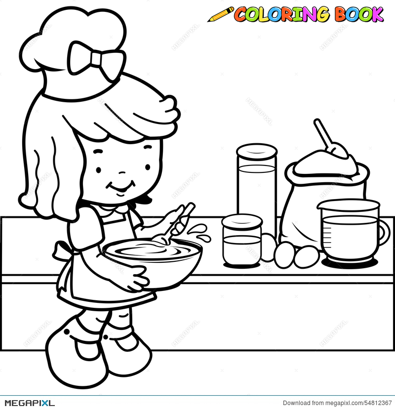 Little Girl Cooking Coloring Page Illustration 54812367 Megapixl