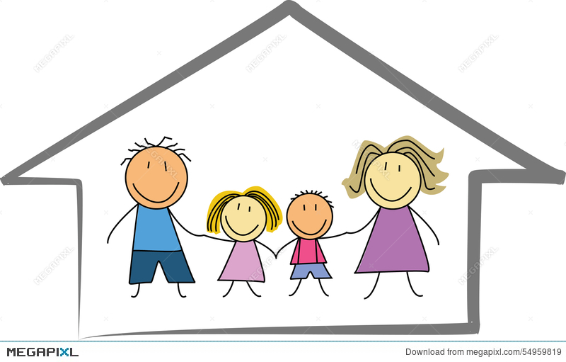 happy family home house kids drawing sketch - Kids Drawing Sketch