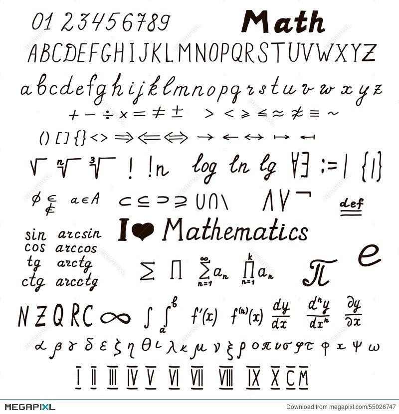 Set Of Mathematical Signs And Symbols Illustration 55026747 Megapixl