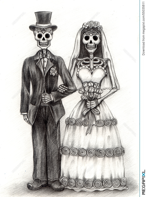 Skull Art Wedding Day Of The Dead Hand Drawing On Paper