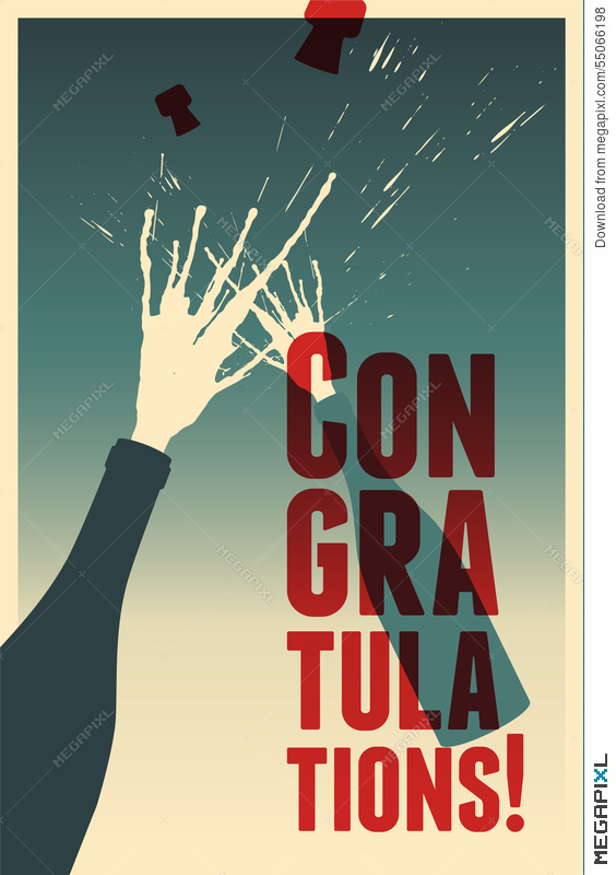 typographic retro congratulations poster with champagne explosion