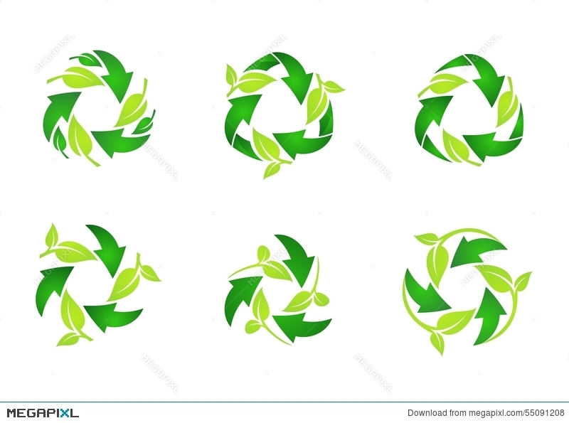 Recycle Logo Circle Natural Green Leaves Ecology Leaf