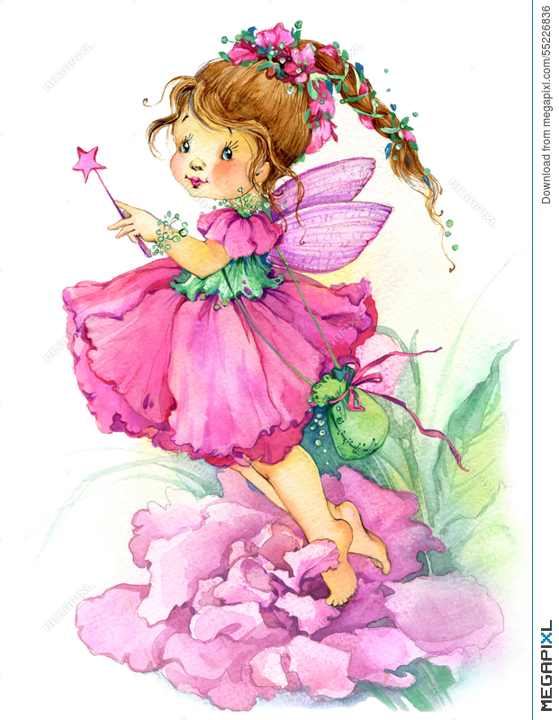 Flower fairy watercolor drawing illustration 55226836 megapixl flower fairy watercolor drawing mightylinksfo