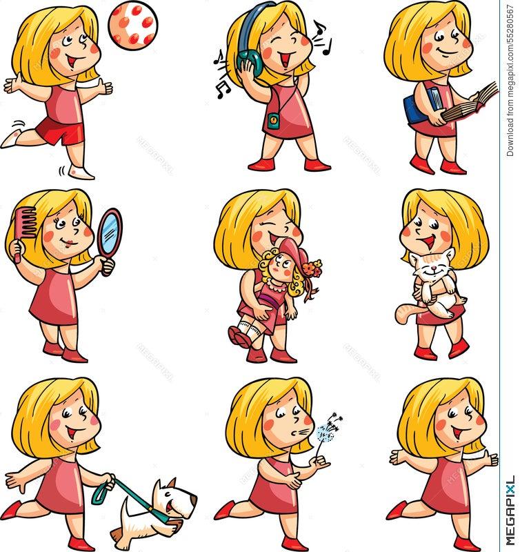 Happy Girl Hobbies Illustration 55280567 Megapixl
